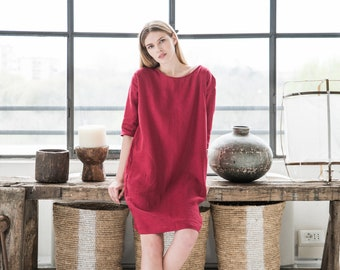 Loose fitted linen dress MARRAKESH. 16 colours. Loose fit dress. Washed linen clothes for women.