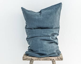 Grey blue linen pillow case. Softened with stone wash. Queen, king, standard sizes.