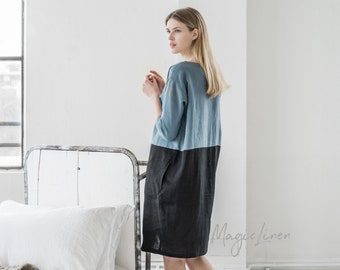 Loose fit linen dress MADEIRA. Colour block dress. Gray blue and black linen tunic. Washed linen clothes for women.