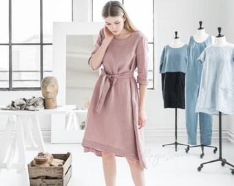 Linnen jurk met riem VENEZIA. In verschillende kleuren verkrijgbaar. Jurk met 3/4 mouwen. Gewassen linnen kleding voor vrouwen.