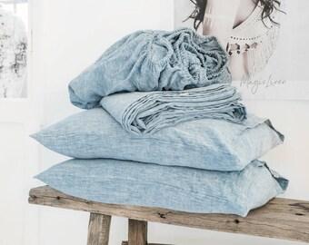 Melange blue linen bed sheet set. Softened linen sheet set of 4 items- fitted sheet, flat sheet and 2 pillow cases.