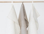 Linen tea towel set (3 pieces). Linen kitchen towel set. Linen hand towels. Gift for man, woman.