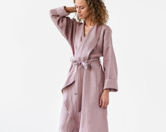 d4a6b53819a Linen bath robe in various colors. Dressing gown. Perfect gift for woman.