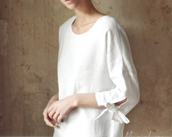 Washed linen top with tie sleeves RIBERA. 16 colours. Handmade linen clothes for women. Loose fitted tunic. Stone washed. Womens clothing.