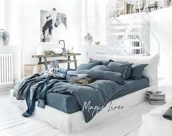 Linen duvet cover. Stonewashed, grey blue colour, queen king twin double size.