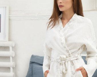 Floral pattern linen bath robe. Handmade 1a1b3f045