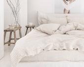 Natural Striped linen bedding set. Linen duvet cover with 2 pillowcases. King / Queen duvet set