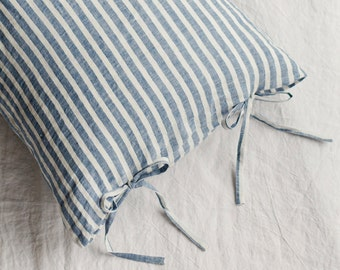 Blue Striped linen pillow case with skinny bow ties. Standard, queen, king, body, custom size pillow cover.