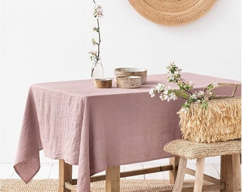 Linen tablecloth in various colors. Round, square, rectangular table linens. Custom linen fabric tablecloth.
