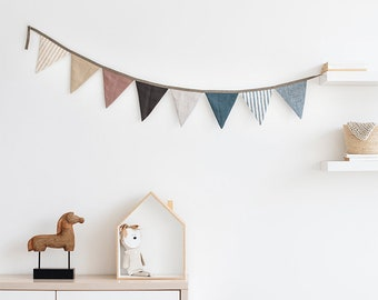 Linen bunting. Nursery wall hanging. Linen flag decoration for baby room. Linen bunting banner.
