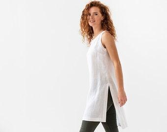 12c9138bcca Linen tunic BARI. Sleeveless linen tunic dress. Linen tank top for summer. Linen  clothing for women in various colors.
