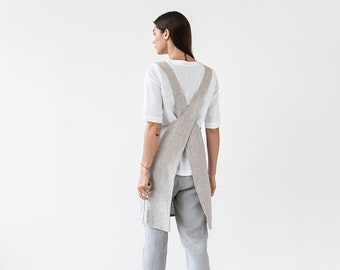 Pinafore linen apron. Japanese cross back apron. No ties linen aprons for women. Linen apron.