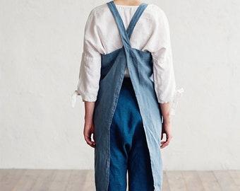 Japanese cross back linen apron. Japanese apron. Linen cross over apron. No ties linen apron. Pinafore apron for woman.