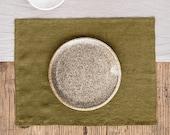Olive Green linen placemats set. Linen place mats.  Set of 2 linen placemats.