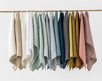 Linen tea towel. Washed linen kitchen towel. Guest, hand towel. Natural dish towel.