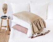 Mermaid ruffle linen pillow case. Standard, queen, king, custom size pillow cover.