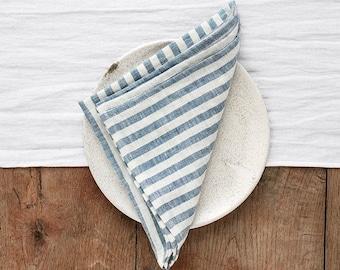Blue Striped linen napkin set of 2. Handmade, stone washed linen napkin set. Nautical linen napkins. Quality table linens.