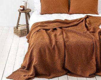Waffle linen blanket in Cinnamon. Linen throw blanket. Linen bed throw in King, Queen sizes. Bedspread, coverlet.
