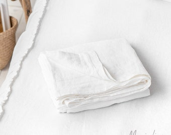 Linen flat sheet in White. Queen, King, Custom size bed sheet. Washed linen bedding.