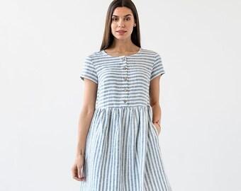 804f2d09b8f Striped linen dress FLORENCE. Linen dress for woman. Knee-length