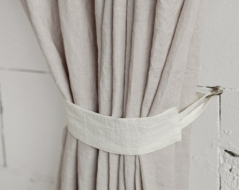 Stone Washed Softened Curtain Tie Back Various Colors Custom Sizes Available Linen Holder Decor