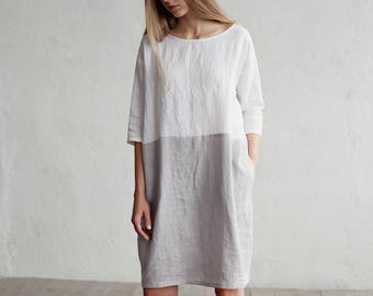 99632372310 Linen dress ADRIA. Colour block in white and gray dress for women.  Loose-fit linen