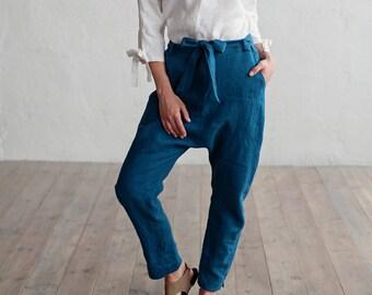 Linen pants FIJI. Loose fit womens pants. Washed linen trousers. Natural linen pants