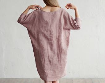 Loose fitted linen dress ARUBA. 15 colours. Linen clothing for women. Stone washed linen clothes.