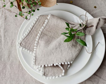 Decorated linen cloth napkins in 13 colors. Set of 4, 6, 8, 10 handmade table napkins.