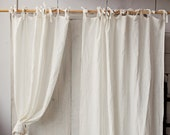 Tie top linen curtain panel, Various colours. Semi-sheer window, shower or door curtain. Custom rod drapes with ties