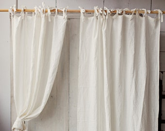 Stonewashed linen curtain. 12 colours. Linen window panel. Linen curtains with ties. Custom width and length. Window curtains. Ties top.