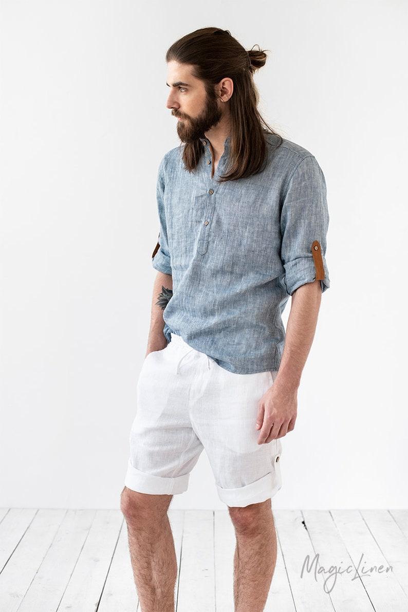 a4619bda81 Blue men's linen shirt TURIN. Band collar linen shirt for   Etsy