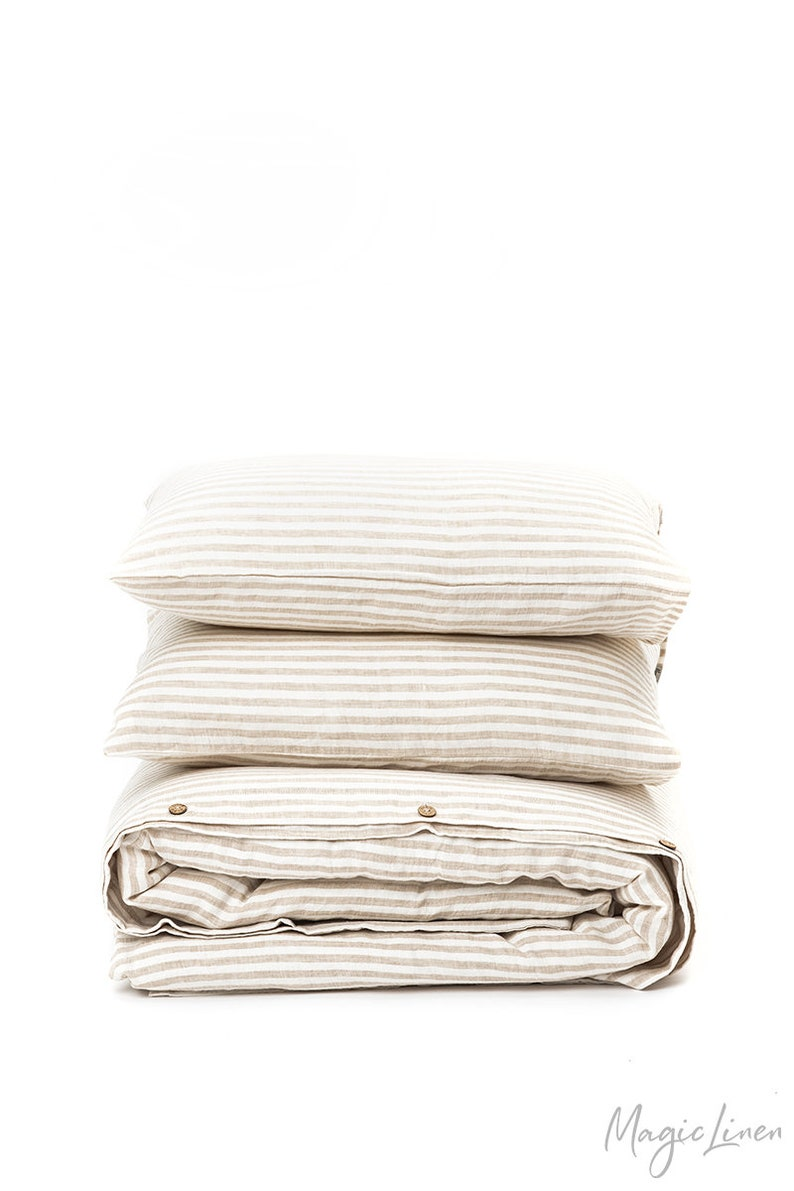 Natural Striped linen bedding set. Linen duvet cover with 2 image 5