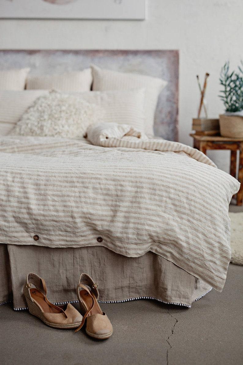 MagicLinen stripe khaki and white bedding
