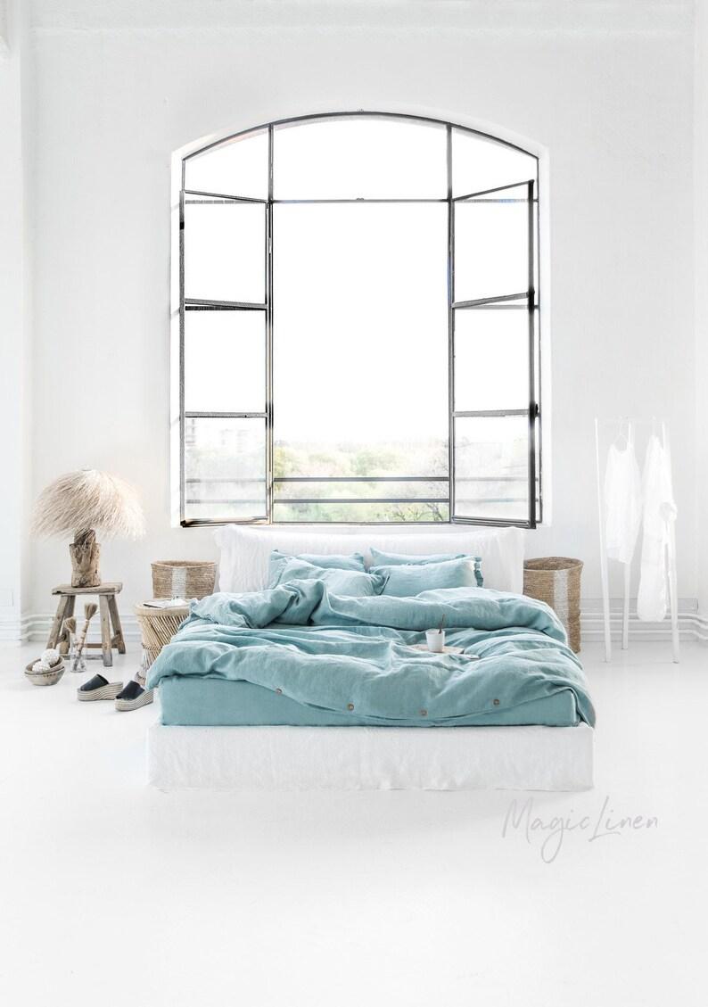 Leinen Bettbezug In Aquamarin Blau Türkis Bettwäsche Nach Maß König Königin Twin Doppelt Voller Größe Bettwäsche