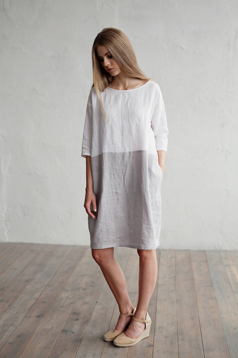 24179fdc7a Linen dress ADRIA. Colour block in white and gray dress for