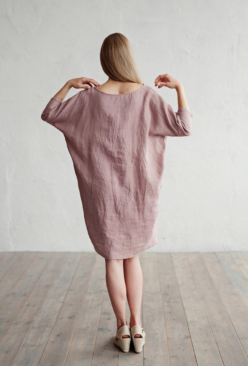 2516341957 Loose-fit linen dress ARUBA. Knee length long sleeve linen