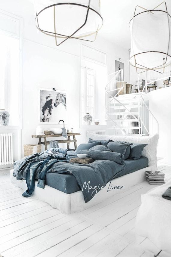 leinen bettbezug in grau blau benutzerdefinierte leinen. Black Bedroom Furniture Sets. Home Design Ideas