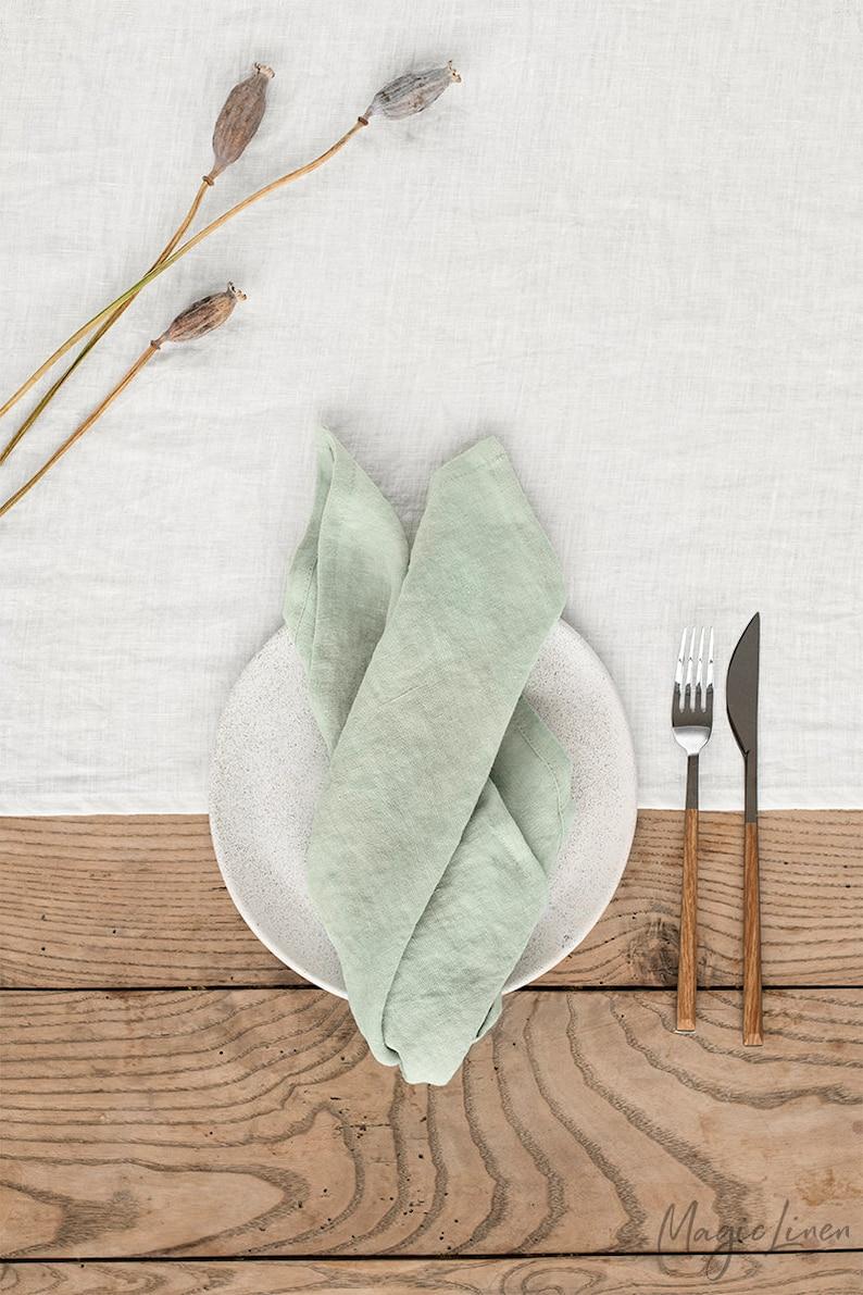 Sage green linen napkin set of 2. Handmade stone washed linen image 1