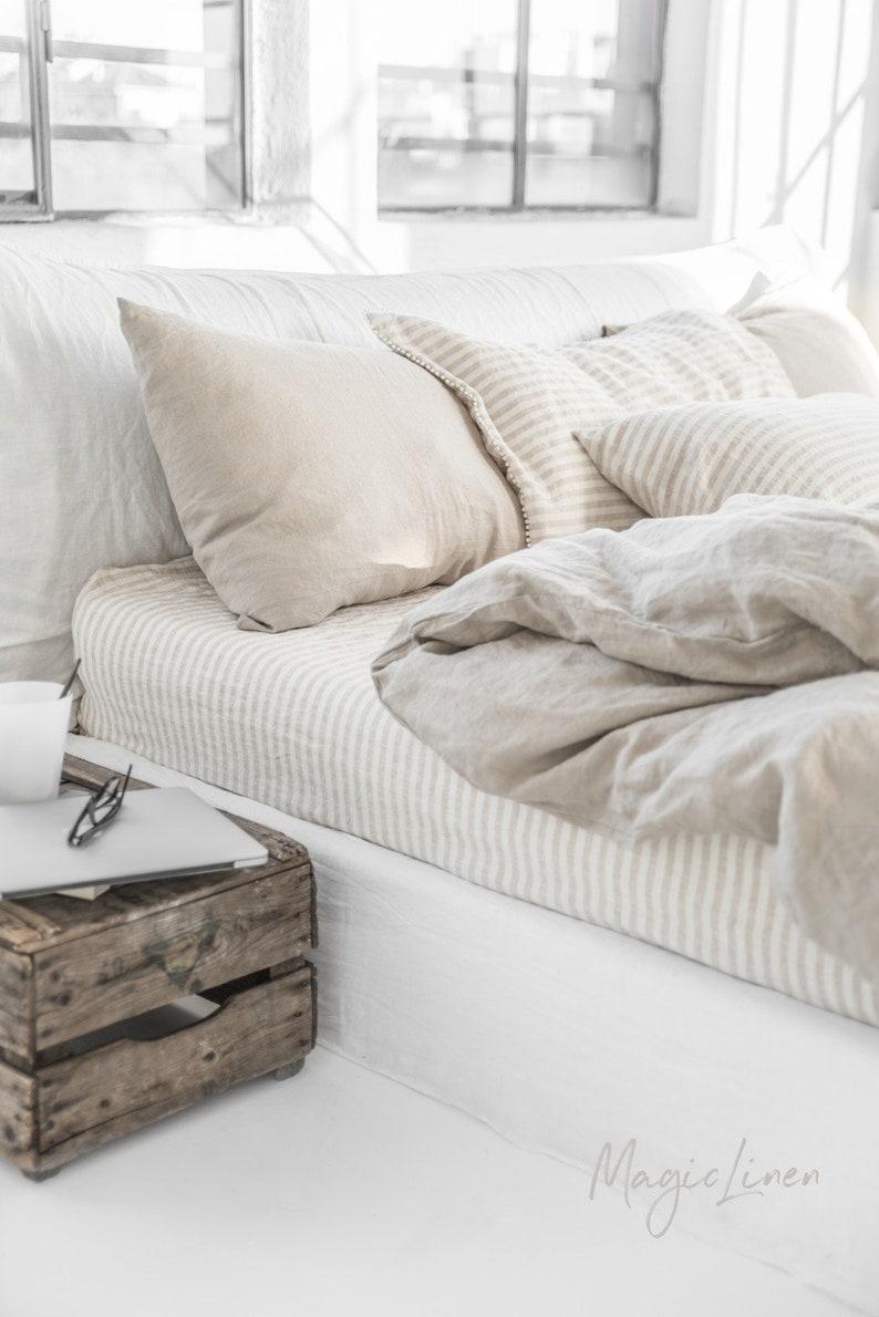 Linen duvet cover in Natural Linen Oatmeal color. Custom image 6