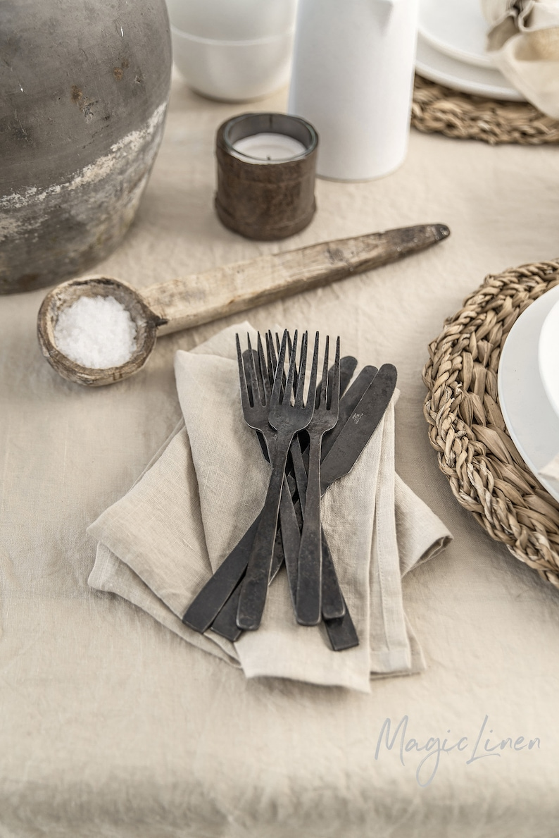 Natural linen napkin set of 2. Handmade stone washed linen