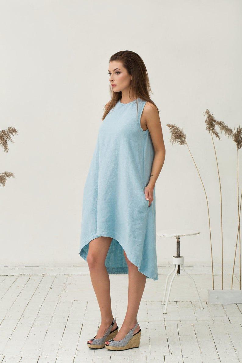 10aa559034 Light blue linen dress TOSCANA. Asymmetrical knee-length