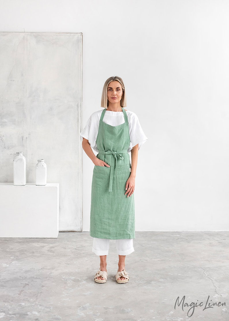 Linen apron. Washed linen apron for cooking gardening. Full Matcha green