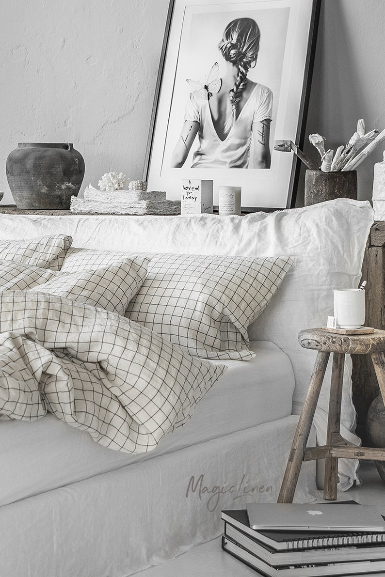 Linen pillowcase in Charcoal Grid Windowpane. Linen pillow image 4