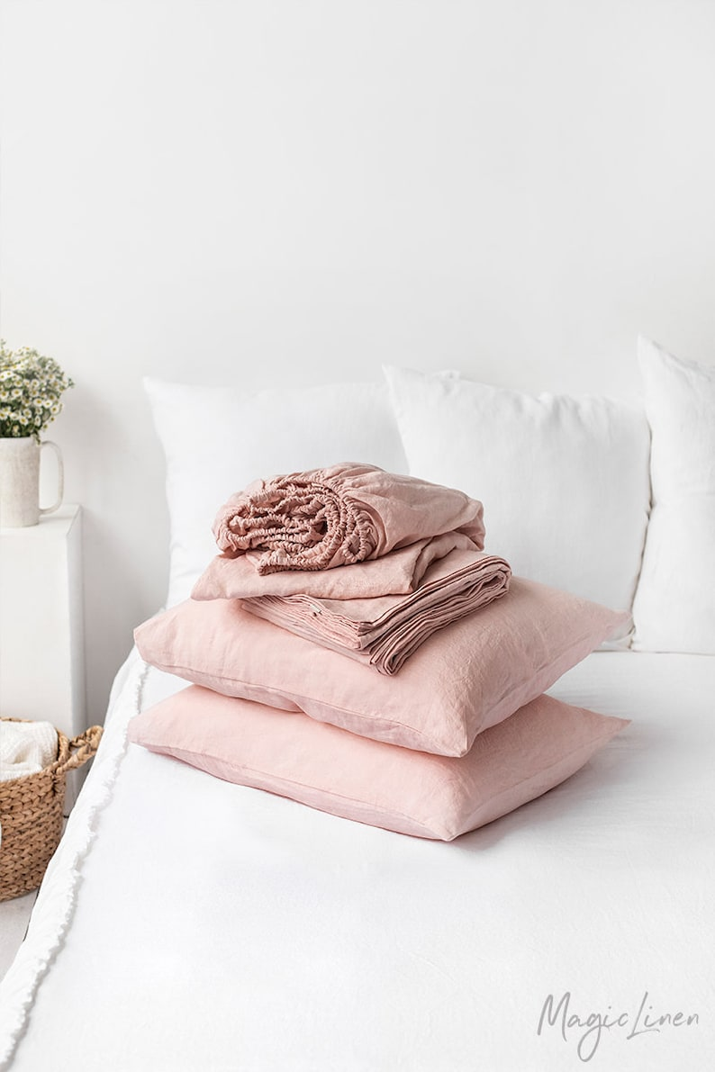 Linen sheet set of 4 pieces in Light Pink Baby Pink. 10 Romantic Tranquil Pink Paint Colors & Pretty Finds!