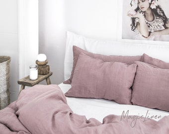 Linen pillow case in Woodrose (Dusty Pink). Softened, washed, custom size pillowcase.