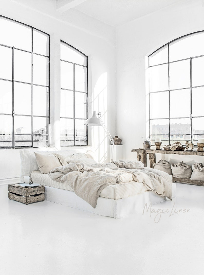 Come explore Organic Rustic Cali Calm Decor Style like this beautiful rough luxe bedroom with neutral colors and beachy calm.