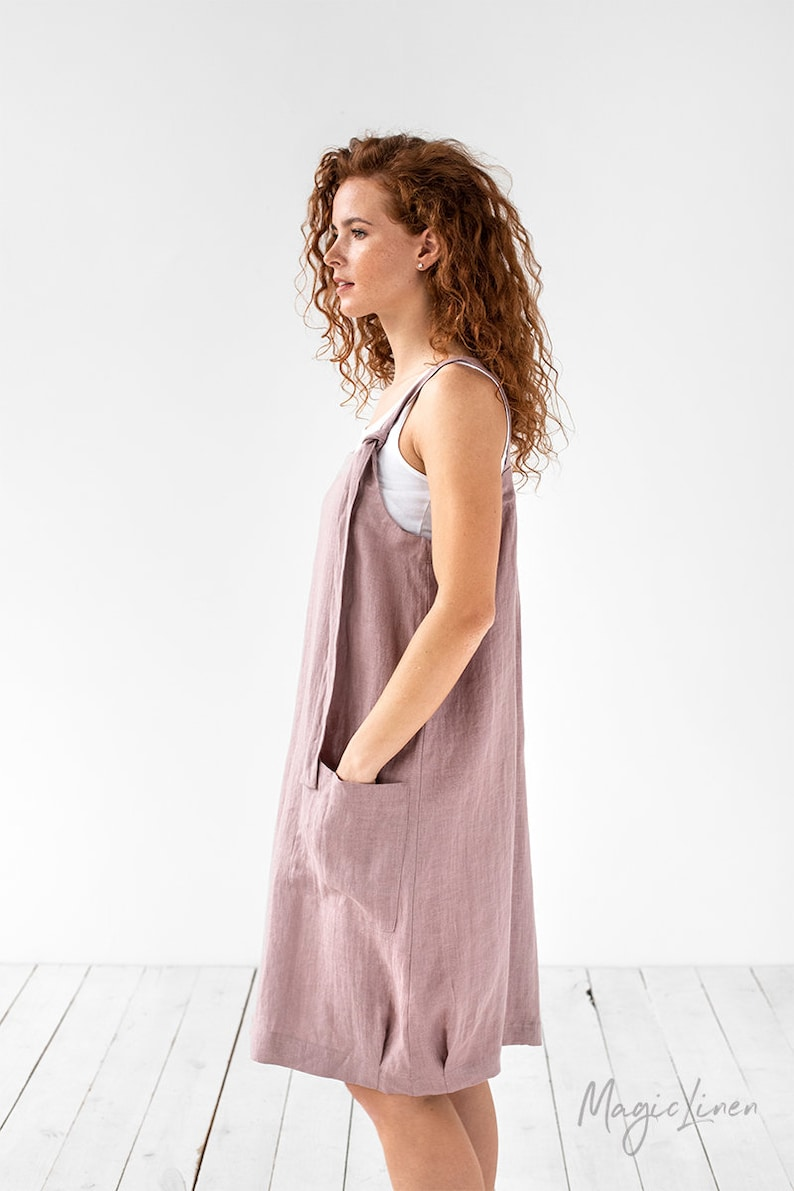 MagicLinen pinafore dress in rose