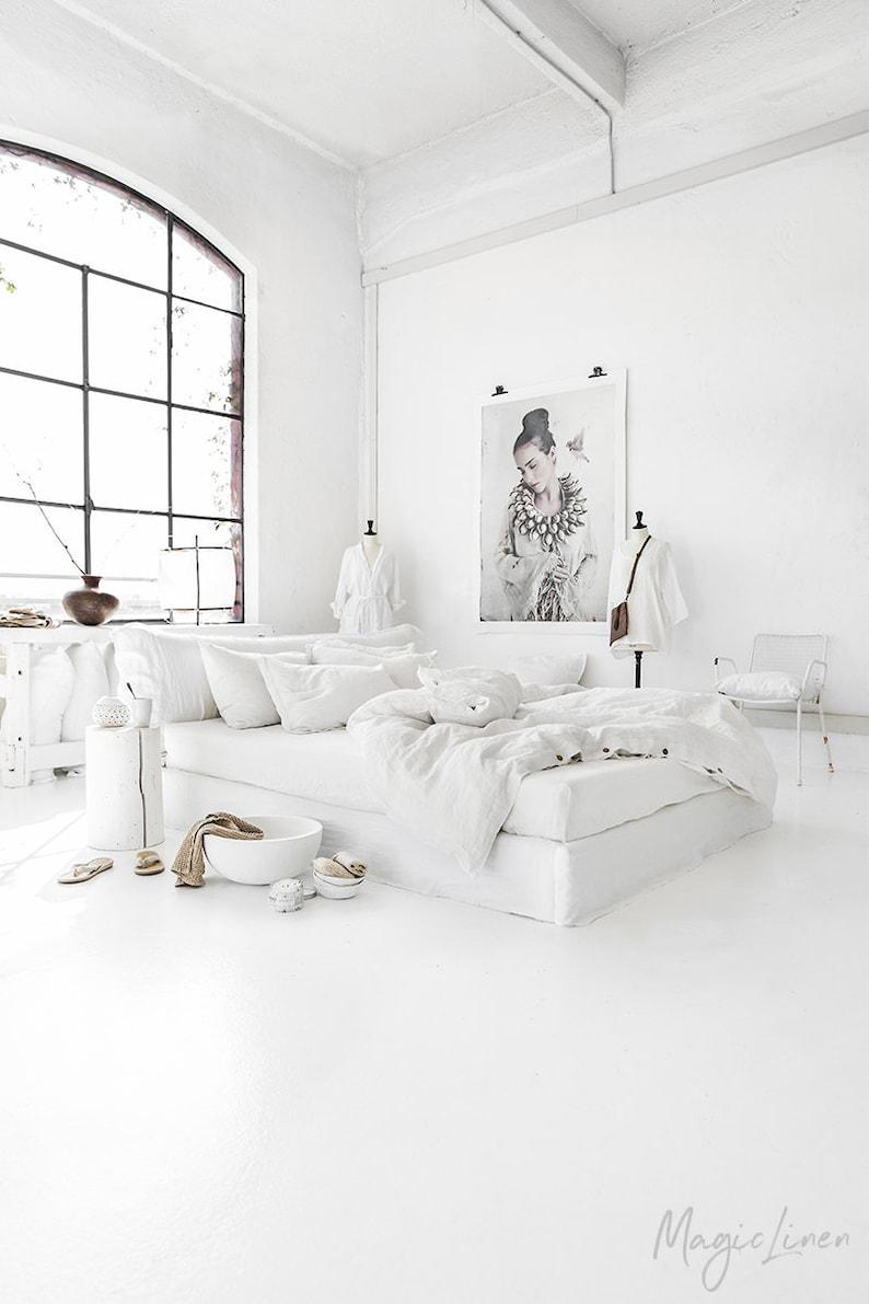 Linen duvet cover in White color. King queen custom size image 0