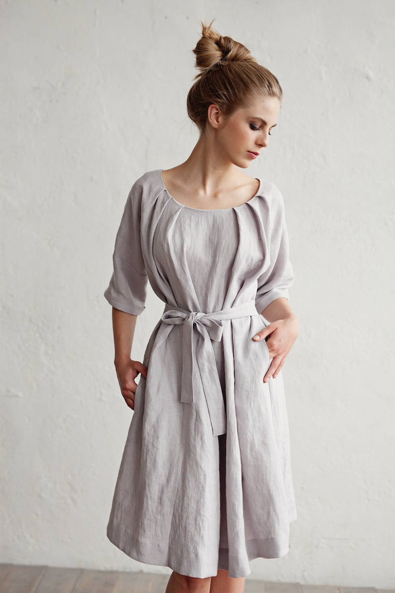 458d3c3bea Linen dress with belt CORFU. Various colors available.